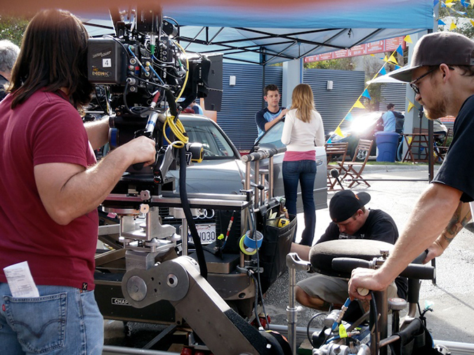 Ryan and Katie Leclerc shoot a car wash scene